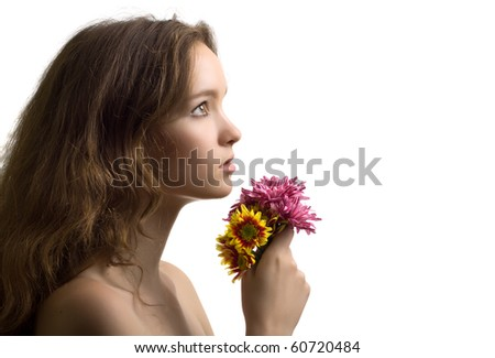 beautiful woman closeup sideview portrait with flower isolated - stock photo