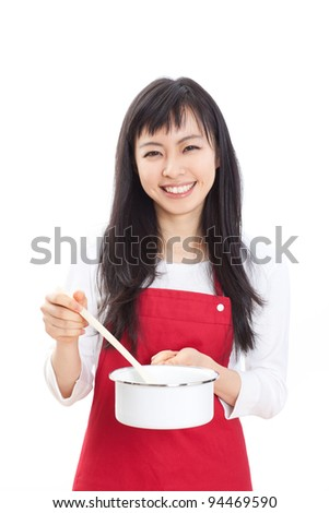 beautiful woman cooking isolated on white background