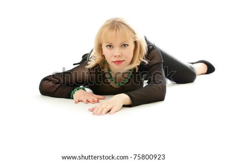 Beautiful woman creeps on a white background - stock photo