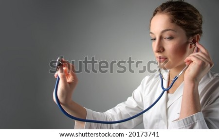 beautiful woman doctor - stock photo