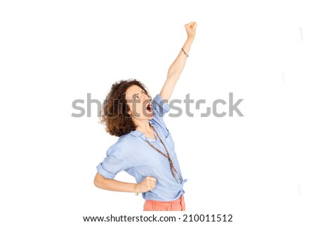 Beautiful woman doing different expressions in different sets of clothes: arm raised - stock photo