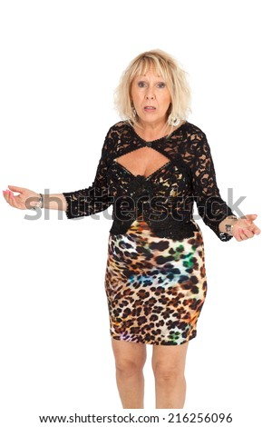 Beautiful woman doing different expressions in different sets of clothes: bad surprise - stock photo