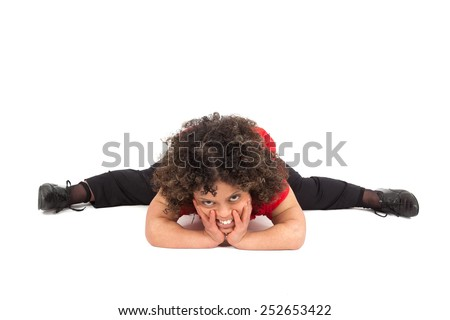 Beautiful woman doing different expressions in different sets of clothes: do a split - stock photo