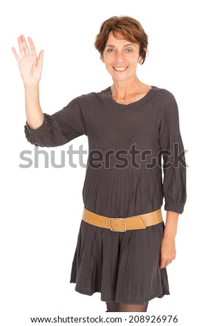 Beautiful woman doing different expressions in different sets of clothes: waving - stock photo