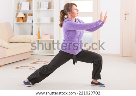 Beautiful woman doing qi gong tai chi exercise at home - stock photo