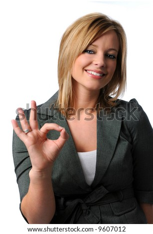 Beautiful woman doing the okay sign and smiling