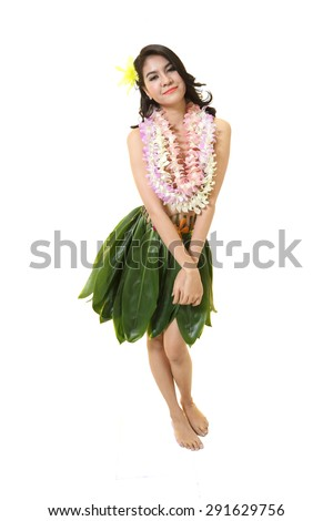 Beautiful woman dress in Hawaiian style with flower lei garland of white orchids on white background.  - stock photo