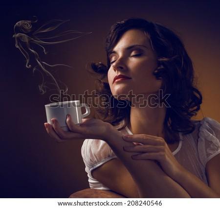 Beautiful Woman Drinking Coffee  - stock photo