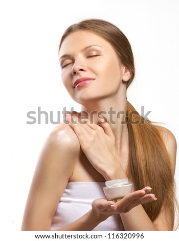beautiful woman enjoying body moisturizing isolated on white - stock photo