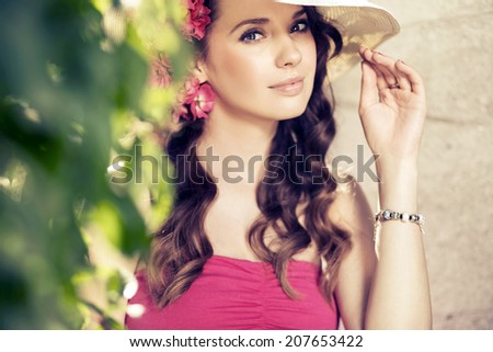 Beautiful woman enjoying in the nature - stock photo