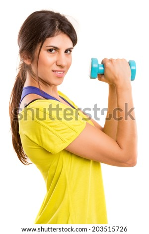 Beautiful woman exercising - fitness concept - isolated over copy space background