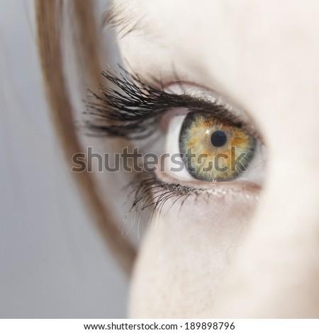 Beautiful woman eye close up - stock photo