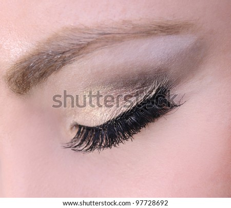 beautiful woman eyes make-up macro shoot eyes closed