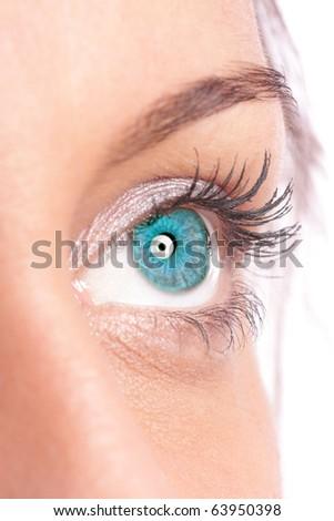 Beautiful woman eyes over white background - stock photo