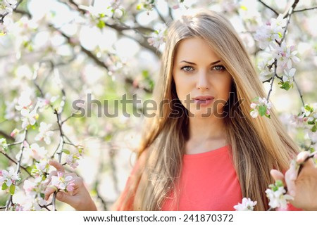 Beautiful woman face - close up - stock photo