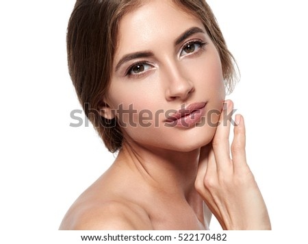 Beautiful woman face close up portrait studio on white