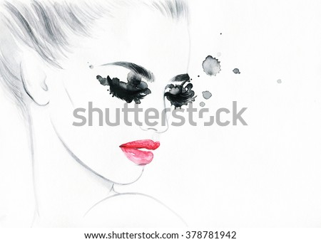 beautiful woman face. colorful makeup . abstract watercolor. fashion illustration - stock photo