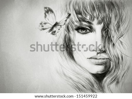 beautiful woman face. Hand painted fashion illustration