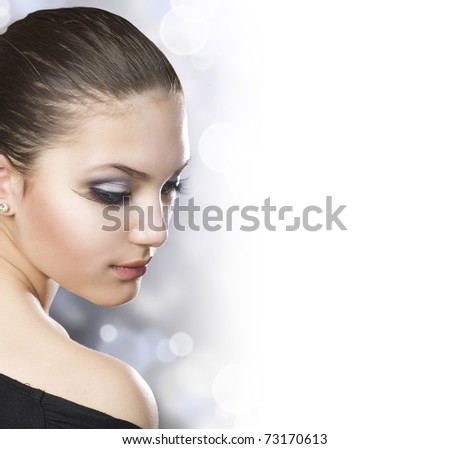Beautiful Woman face.Healthy skin.Over white background - stock photo