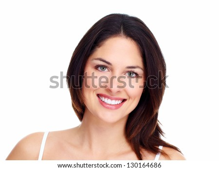 Beautiful woman face. Isolated on white background. - stock photo