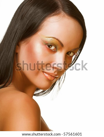 beautiful woman face on white background