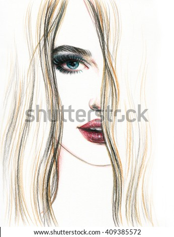 Beautiful woman face. Perfect makeup. Abstract fashion watercolor illustration - stock photo