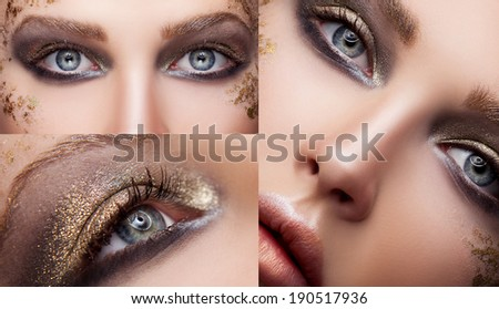 Beautiful woman face. Perfect makeup. Beauty fashion. Gold-black shadows