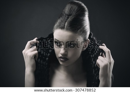 Beautiful woman face. Perfect makeup. Beauty fashion. Portrait of attractive young model with bright make-up.  - stock photo