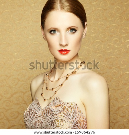 Beautiful woman face. Perfect makeup. Beauty portrait - stock photo