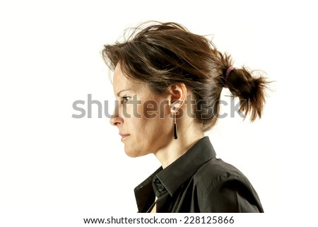 Beautiful Woman Face Portrait Profile with Ponytail  - stock photo
