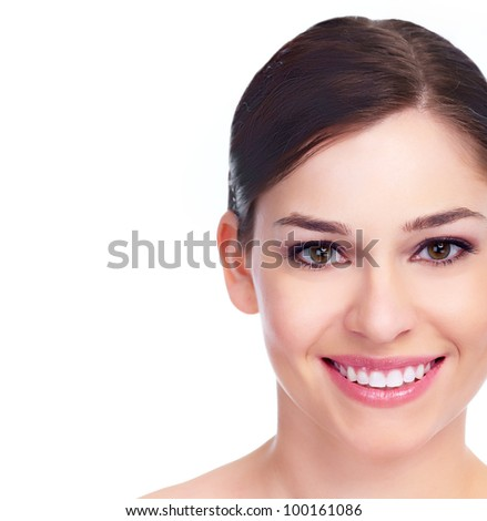 Beautiful woman face. Smile. Isolated on white background. - stock photo
