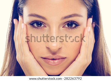 beautiful woman face studio natural portrait with healthy skin  - stock photo
