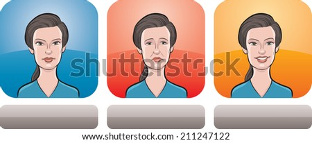 beautiful woman face three expressions - stock photo