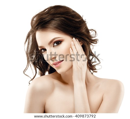 Beautiful woman face with curly hair close up portrait young studio on white  - stock photo