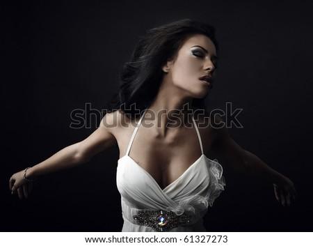 Beautiful woman. Fashion art photo. - stock photo