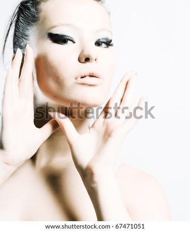 Beautiful woman. Fashion art photo. Close-up makeup - stock photo
