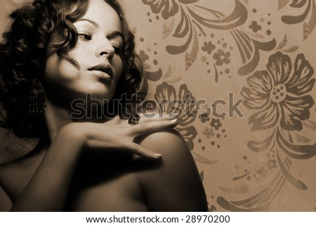 Beautiful woman. Fashion art photo (sepia toned) - stock photo