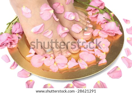 Beautiful woman  feet with flowers and  rose petals over white