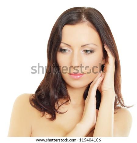 Beautiful woman -  female face isolated - stock photo