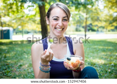 beautiful woman fitness running at the park - stock photo