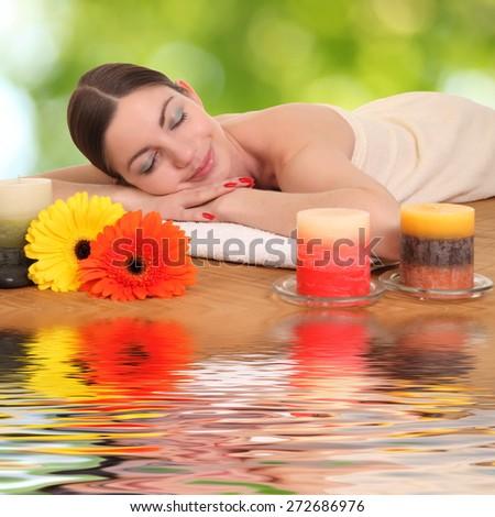Beautiful woman getting spa , spa salon - stock photo