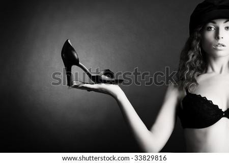 Beautiful woman. Girl and shoe - stock photo