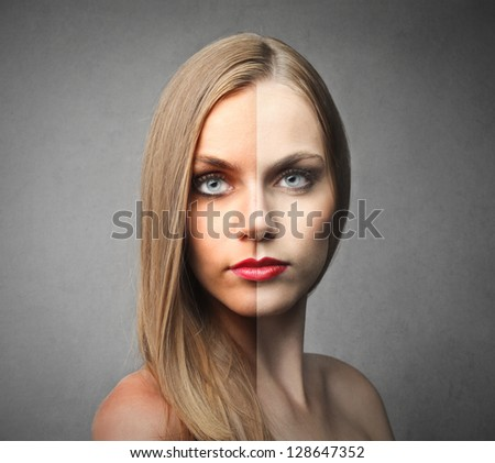 beautiful woman half face tanned and half natural - stock photo