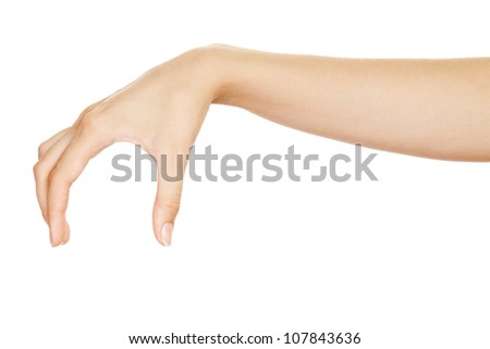 Beautiful woman hand  holding items  isolated on white background. - stock photo