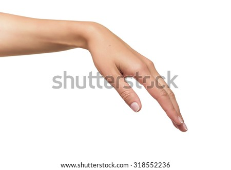 Beautiful woman hand holding or stretches. Isolated on white background
