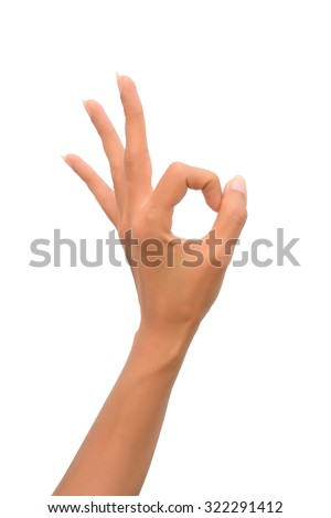 Beautiful Woman Hand OK sign. Isolated on white background - stock photo