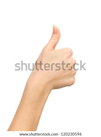 Beautiful woman hand thumb up with manucure nails isolated on white background - stock photo