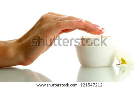 Beautiful woman hand with cream, isolated on white - stock photo