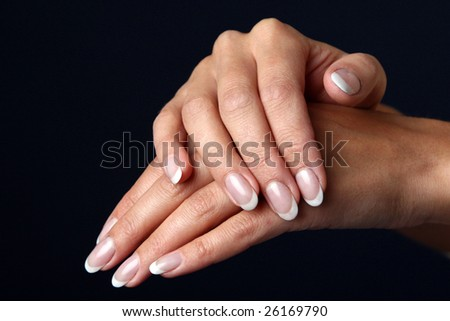Beautiful woman hand with french manicure