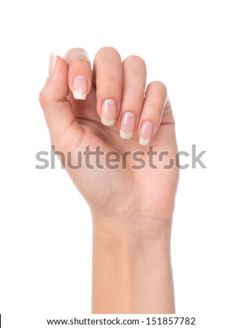 Beautiful woman hand with french manicured nails isolated on a white background - stock photo